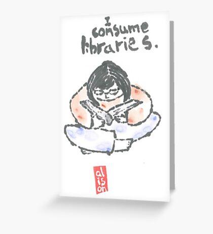 I Consume Libraries Watercolor Etegami postcard Greeting Card