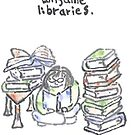 I consume libraries -- watercolor postcard by Labontea