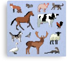 Animals of the UK (Outlined) Canvas Print