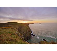 Cornwall: Final Light over the Rumps Photographic Print