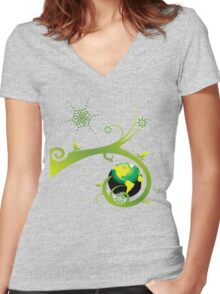 Earth Eco Friendly Design Women's Fitted V-Neck T-Shirt