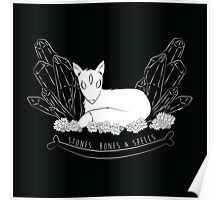 Three-Eyed Fox (white on black) Poster