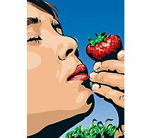 Boy Smelling Strawberry Photographic Print