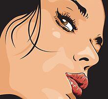 Seductive Woman Closeup Face by Doug Wells
