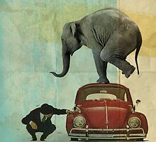 Looking for Tiny _ elephant on a red VW by Vin  Zzep