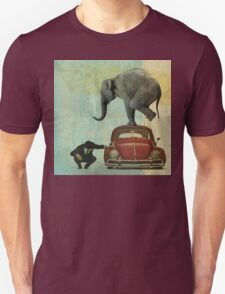 Looking for Tiny _ elephant on a red VW T-Shirt