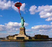 """Statue of liberty """"HELP"""" by Martin Dingli"""