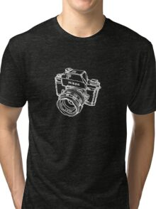 Nikon F Classic Film Camera Illustration WHITE for dark colors Tri-blend T-Shirt