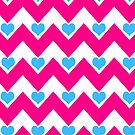 hearts&amp;chevron - pink &amp; blue by designsbyjenn