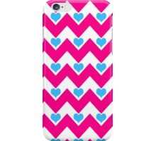 hearts&chevron - pink & blue iPhone Case/Skin