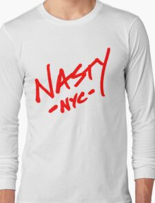 ONE WORD: Nasty - Oversized Red Thick Script Tee Long Sleeve T-Shirt