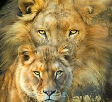Lion And Lioness - African Royalty by Carol  Cavalaris