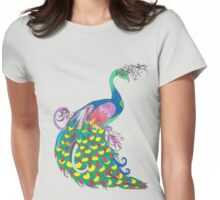Rainbow Peacock Womens Fitted T-Shirt