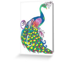 Rainbow Peacock Greeting Card