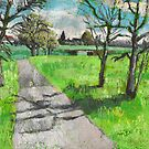 Tree landscape in spring, oil pastel, plein air study by aceshirt