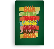 Funny Burger Typography Art Canvas Print