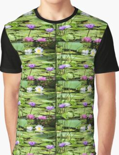 Pink, Purple and White Water Lilies Graphic T-Shirt