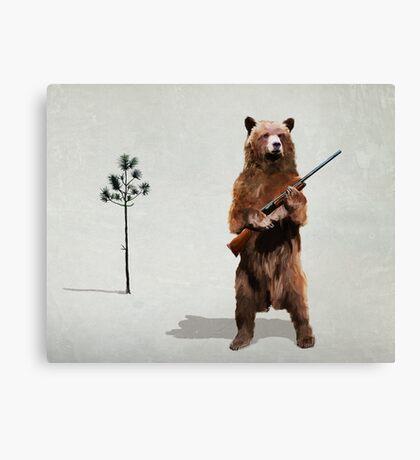 Bear with a shotgun Canvas Print