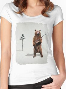 Bear with a shotgun Women's Fitted Scoop T-Shirt