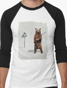 Bear with a shotgun Men's Baseball ¾ T-Shirt