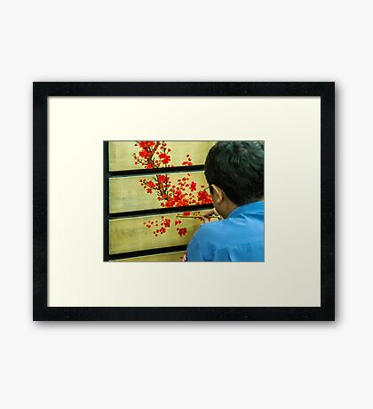 Vietnamese Lacquer Painter Framed Print