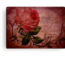 O Rose Thou Art Sick Canvas Print