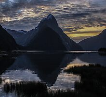 Sunset at Milford Sound by EblePhilippe