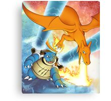 Charizard vs Blastoise Canvas Print