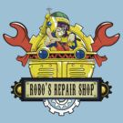 Robo Repair Shop by coinbox tees