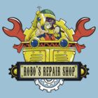 Robo Repair Shop by coinbox tees