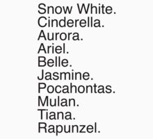 Disney Princess Names Kids Clothes