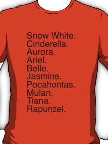 Disney Princess Names T-Shirt