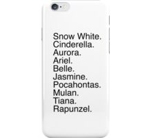 Disney Princess Names iPhone Case/Skin