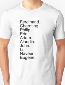 Disney Princes Names T-Shirt