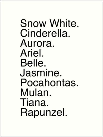 Disney Princess Names by MargaHG