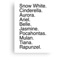 Disney Princess Names Canvas Print