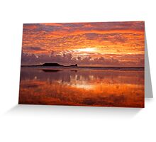 Sunset on Worm's Head, Gower Greeting Card