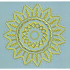 Gold Kaleidoscope Sun King on light blue grey background by Jennifer Mosher