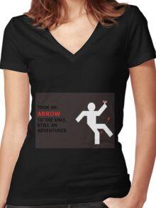 Arrow to the Knee, Still an Adventurer Women's Fitted V-Neck T-Shirt