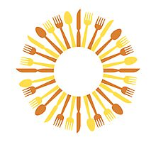 circular cutlery design Photographic Print