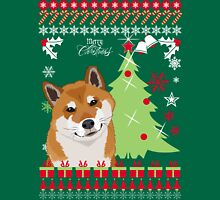 Shiba Inu Ugly Christmas Sweater Womens Fitted T-Shirt