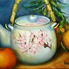 """ Japanese Teapot With Tangerines"" by Tatiana Roulin"