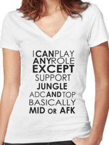 I Can Play Any Role Women's Fitted V-Neck T-Shirt