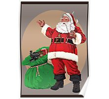 Santa with pipe and toy bag Poster