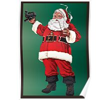 Santa with pipe, glasses and toy train Poster