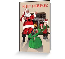 Santa with toybag, fireplace and elf Greeting Card