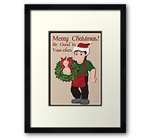 Elf with wreath and Christmas wishes. Framed Print