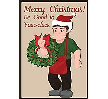 Elf with wreath and Christmas wishes. Photographic Print
