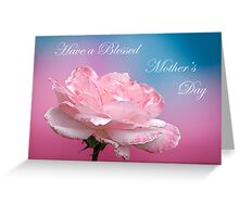 Happy Mother's Day  Pink White Rose Greeting Card
