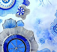 Blue Zen Art by Sampa Bhakta